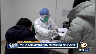 CDC: No coronavirus threat from China passengers