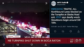 All lanes closed on Florida's Turnpike NB at Glades Rd. after deadly crash