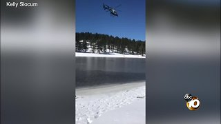 Man rescued after falling through the ice on Laguna Lake