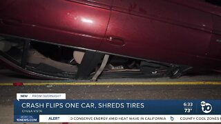 Crash on 805 freeway flips one car