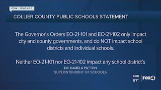 Collier County says governor's orders do not impact schools