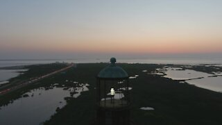 Drone footage of historic lighthouse in Port Galveston, Texas
