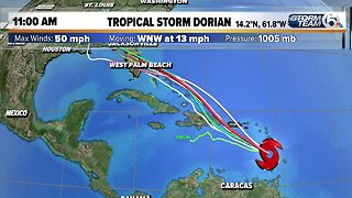 Tropical Storm Dorian 2PM Loop