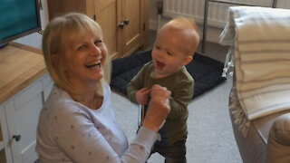 Toddler hilariously can't wait until end of nursery rhyme