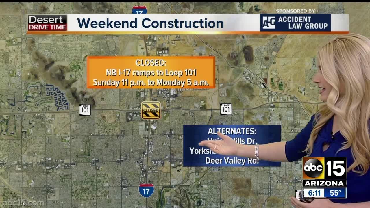 Weekend traffic alerts around the Valley