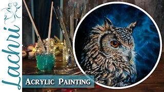 Owl Oil over Acrylic Painting & Dart Frog Vivarium Updates