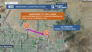 Weekend construction impacts Loop 101 and SR-51
