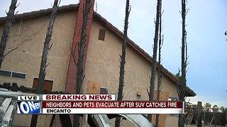 SUV fire burns near home, forces evacuation