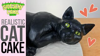How to make a realistic black cat cake