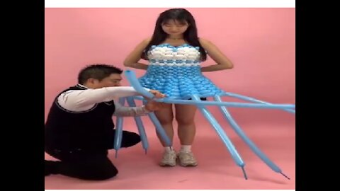 Amazing talent to make different items from the balloons