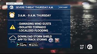 Severe weather threat Thursday for metro Detroit