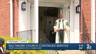 Baltimore church continues to hold service despite church service being shut down last week