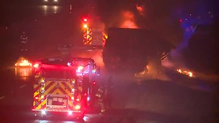Semi truck becomes completely engulfed in flames on Ohio Turnpike