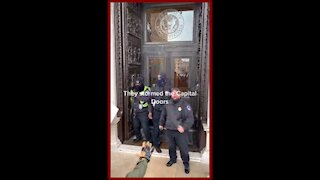Jan 6 Footage - ANTIFA Attacking Capitol Police At the Capitol Doors - 2203