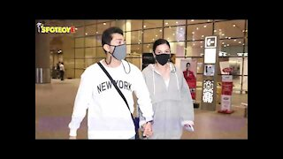 Gauahar Khan and Zaid Darbar Spotted at the Airport   SpotboyE
