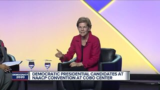 Democratic presidential candidates at NAACP convention at Cobo Center
