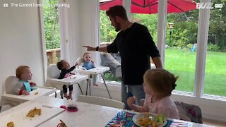 Dad makes kids burst out laughing during mealtime
