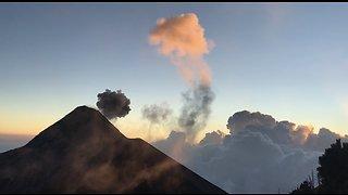 Volcanic eruption creates stunningly beautiful sunset