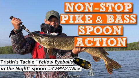 S3:E3 Non-Stop Norther Pike & Bass Spoon Action | Kids Outdoors