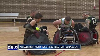 Local wheelchair rugby team practicing for tournament