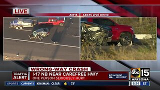 Wrong-way driver causes crash on I-17 near Carefree Highway