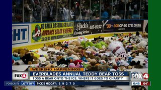 Everblades holding Teddy Bear Toss game Saturday