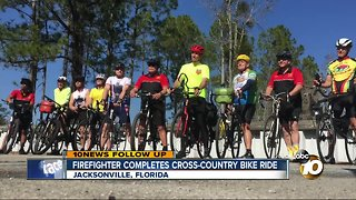 Firefighter completes cross-country bike ride