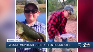 Missing McIntosh teen found safe