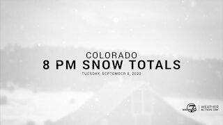 8 PM Colorado snow totals for Tuesday
