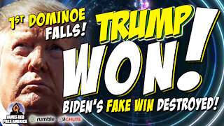 FIRST DOMINO FALLS w/ MORE TO COME! Fake 'Biden Won' Deep State Lie EXPOSED & PROOF That TRUMP WON!