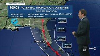 Potential Tropical Storm #9 continues to move toward Florida