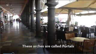 Walking through the Portales in Puebla, Mexico