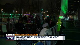 Line grows outside Panther Arena in anticipation of President Trump's arrival