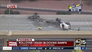 Rollover crash blocks I-17 to Loop 101