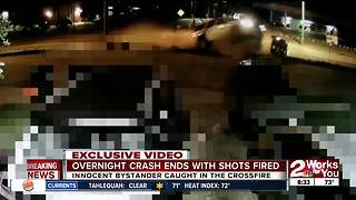 Overnight crash ends with shots fired