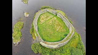 Drone footage captures 1,500 year ancient fort built in hidden lake
