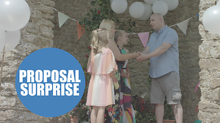 Touching moment woman proposes to partner - and daughter asks him to adopt her at same time