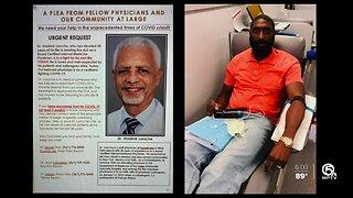 Miami man donates plasma to help West Palm Beach doctor battling coronavirus