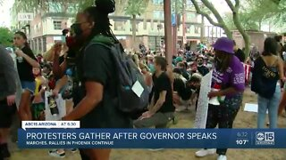 Protesters gather after governor speaks on Floyd's death for first time