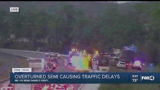 Semi rollover crash on I-75