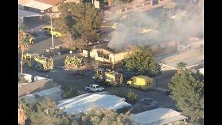 Mobile home fire near Boulder Station