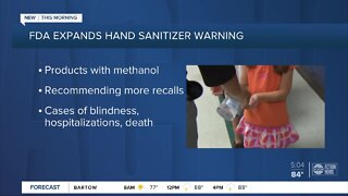 FDA expands list of hand sanitizer products with methanol