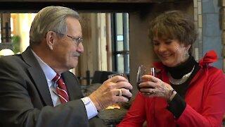 Elderly couple celebrates Valentine's Day and one-year anniversary