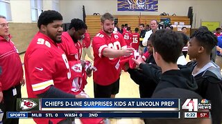 Chiefs players make surprise visit at Lincoln Prep