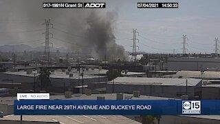 Firefighters battle massive fire at Phoenix salvage yard