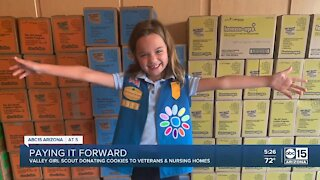 Valley Girl Scout donates cookies to veterans and hospitals