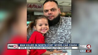 Man dies in crash, wife & daughter in critical condition