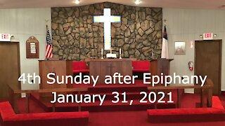 4th Sunday after Epiphany Worship - January 31, 2021