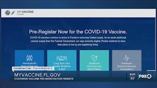 Florida vaccine pre-registration system