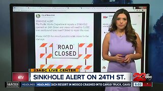 City of Bakersfield warns residents of sinkhole on 24th St.